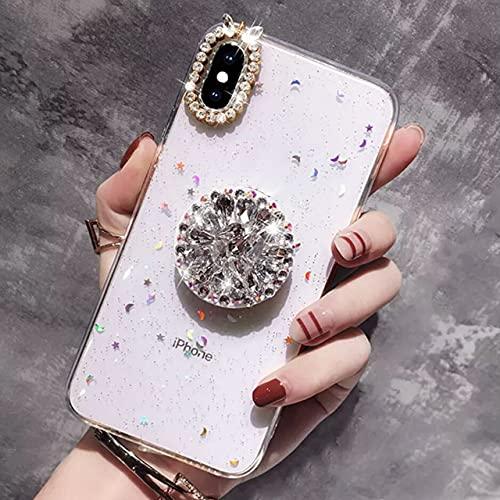 Estuche para Anillo de Dedo con Purpurina y Diamantes de imitación para iPhone 11 Pro XS MAX XR 10 X 7 8 6 6s Plus Funda de Silicona Suave TPU Diamond Sexy Girl, Blanco, para iPhone 11