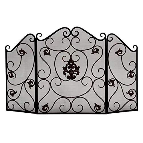 QAQA Rustikales 3-Panel Kamin Screens for Gas-Kamin, Folding Flach Kamin-Schutz mit Metal Mesh Dekor, Schwarz