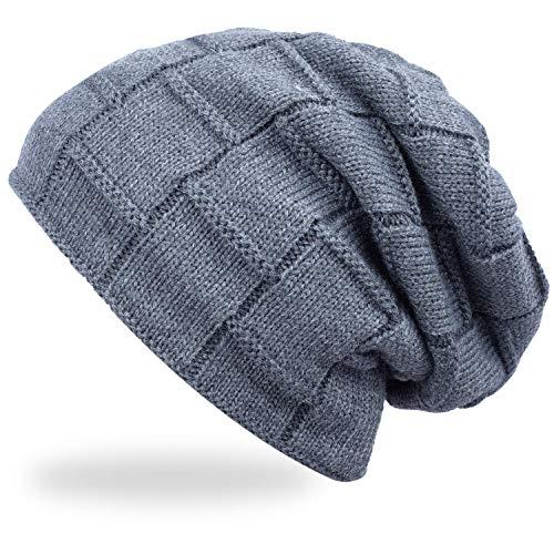 Acexy Wintermütze Warme Knit Mütze Gehäkelte Slouchy Wollmütze Slouchy Caps Unisex Beanie Wintermütze (Grau)