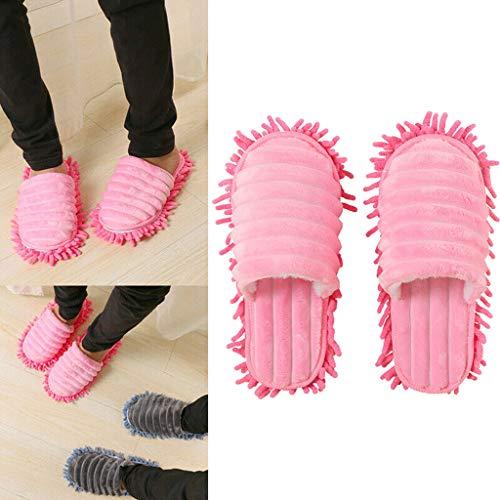 AMhomely EIN Paar Multifunktions-Mop-Pantoffeln - Männer und Frauen Faule mopp Hausschuhe gehen Reinigung Staub warm langlebig polieren Boden 1 Paar (Rosa, M)