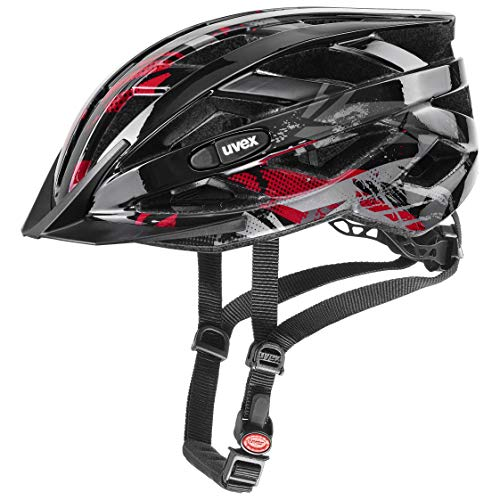 uvex Unisex Jugend, air wing Fahrradhelm, black red, 52-57 cm thumbnail