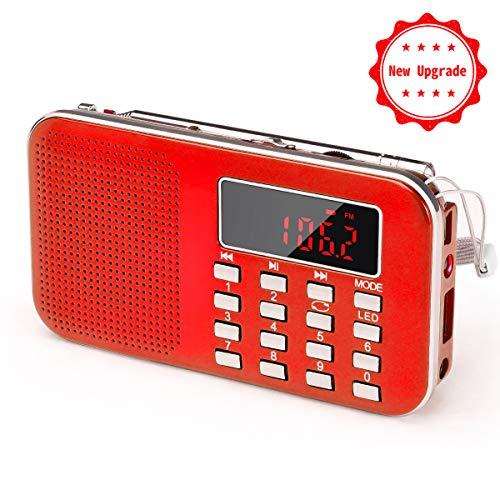 Aggiornamento Radio Portatili Ricaricabile FM/AM(MW) PRUNUS L-218,Radiolina Portatile Display Digitale,Lettore Musicale MP3,Supporto USB/AUX/Micro TF Card, Aggiunta Torcia di Emergenza.