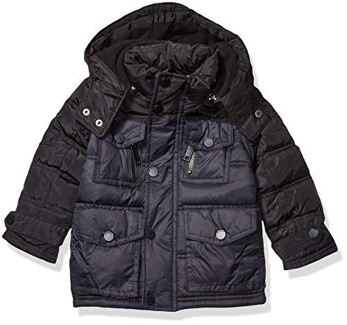 Rocawear Boys' Big Outerwear Jacket, Signature Puffer Black/Black Cire, 10/12