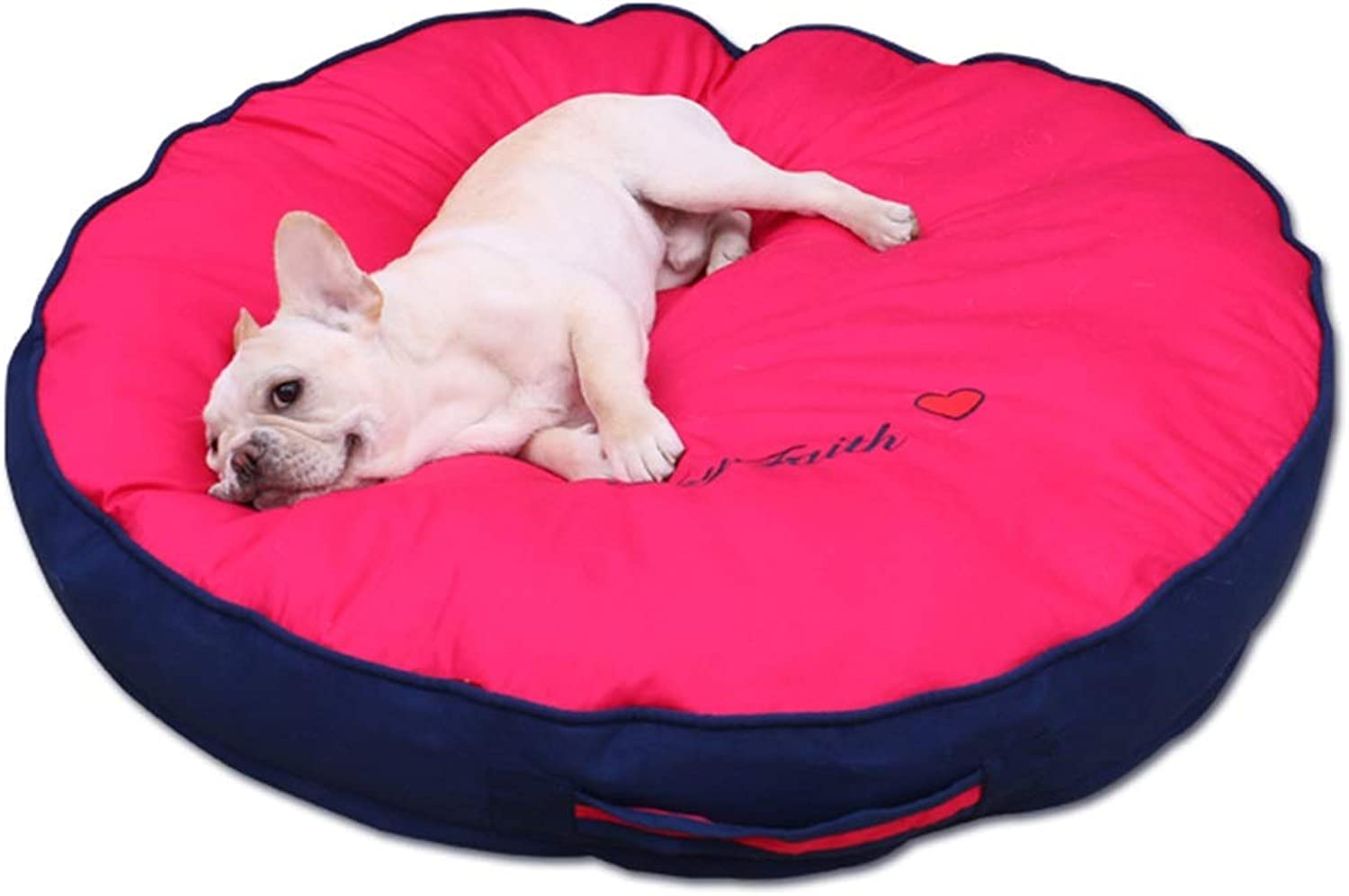 LXLA  Round Donut Pet Bed, Antistatic Cotton Cover, Suitable for Cats and Small Medium Dogs, Removable & Washable  pink Red (Size   M 60×60×10cm)