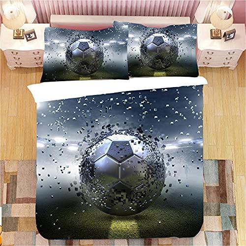 WXYGJYG Juego de Ropa de Cama Fútbol Gris 3D Imprimir Microfibra hipoalergénica, 3 Piezas Ropa de Cama 1x 240x220 cm Fundas nórdicas 2X (50x75 cm) Funda de Almohada Niños y Adultos
