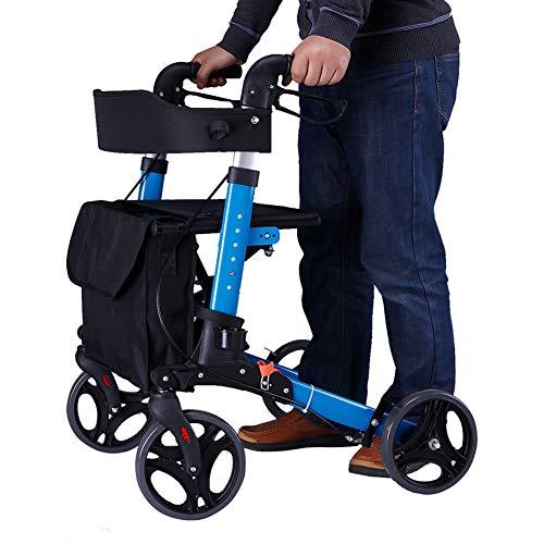 YXX-Andador Andadores para Ancianos Adultos Hombres Ancianos Andador Con Ruedas Vertical Para Personas Altas Y Bajas (1,2-1,8 M), Con Ruedas Grandes, Frenos De Mano, Asiento Y Cesta Grande (carga 5 Kg
