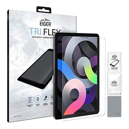 EIGER Tri Flex - Protector de pantalla para iPad Air (2020) / iPad Pro 11 de alto impacto sin vidrio, antiarañazos, antigolpes, multicapa (1 paquete) en transparente con kit de limpieza.