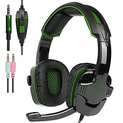 WZLJW Gaming Headset, for PS4 / Xbox EIN/Mac/PC-Controller mit Mic, LED-Licht, Profi-Kopfhörer Bass Surround und ausgezeichnete Rauschunterdrückung Kristall Clarity-grün ggsm (Color : Green)