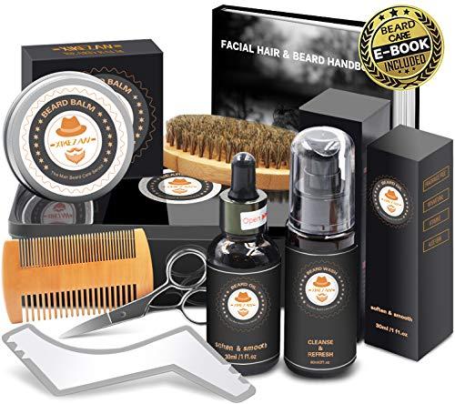 XIKEZAN Beard Grooming Kit in METAL BOX w/Beard Shaping Tool,Beard Shampoo/Wash,Beard Conditioner Oil,Beard