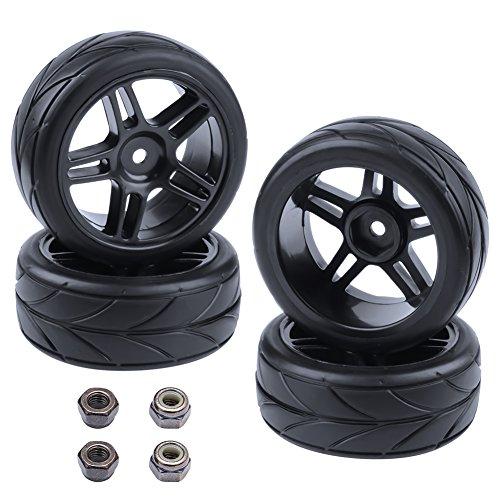 Hobbypark 4-Pack Rubber Tires V Tread & Pentagram Wheel Rims 12mm Hex Hub for 1/10 Scale On Road...