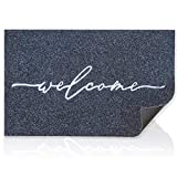 Welcome Mat Outdoor with Durable Non Slip Rubber Backing Ultra Absorb Mud Easy Clean Entry Door Mats for Indoor High Traffic Areas Front Door Entrance Doormat Grey