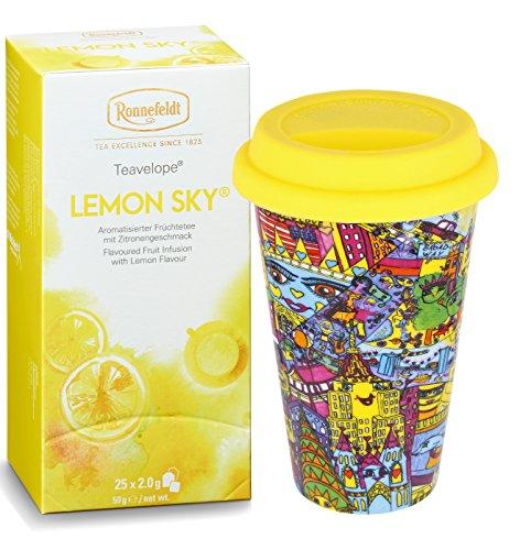 "Ronnefeldt Promopack – Teavelope ""Lemon Sky"" Früchtetee, 50 g inkl. To Go Becher aus Porzellan, 0,3 L"