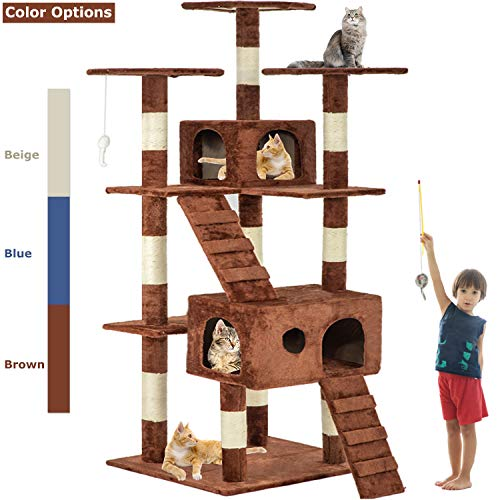 Brown 72' Cat Tree Scratcher Play House Condo Furniture Bed Post Pet House