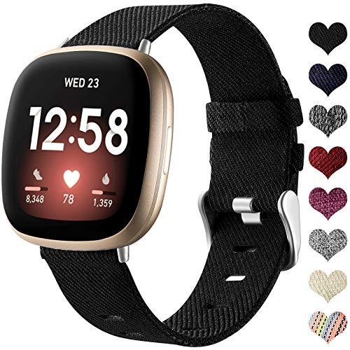 Ouwegaga Tissé Bracelet Compatible avec Fitbit Versa 3 Bracelet/Fitbit Sense Bracelet Respirant Nylon en Tissu Bracelet de Remplacement Compatible avec Fitbit Sense/Versa 3, Grand Noir