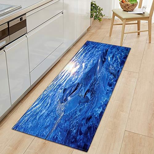 OPLJ 3D Underwater World Küchenmatte Eingang Fußmatte Schlafzimmer Bodendekoration Wohnzimmer Teppich rutschfeste Fußmatte A1 50x80cm
