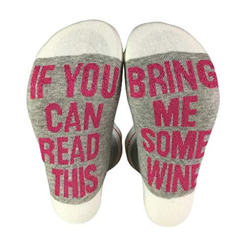 MYhose Novedad Funny Saying Crew Socks Shiny Si Puedes Leer Esto Tráeme Wine Medias Crew Calcetines Gris Claro + Rojo Rosa