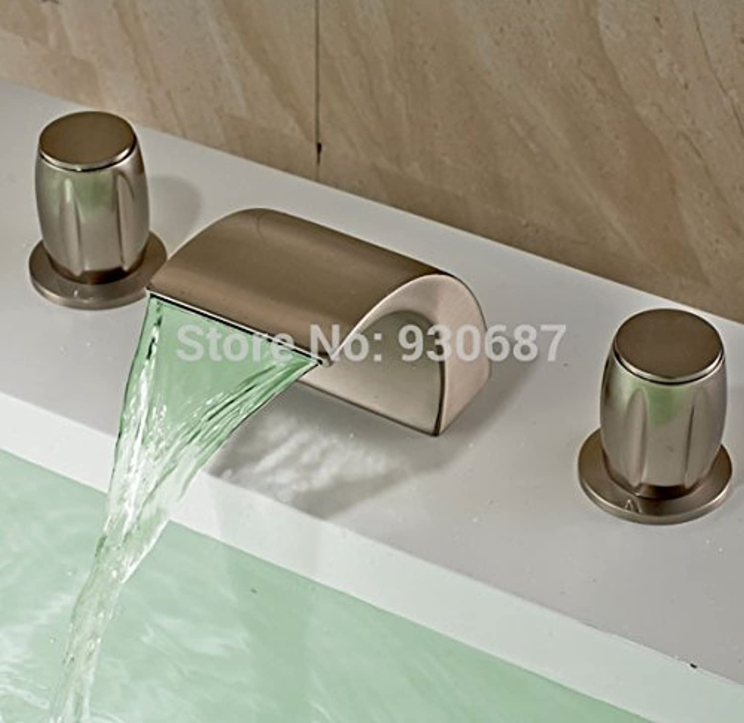 Retro Deluxe FaucetingModern Led color Changing Bathroom Sink Faucet Brushed Nickel Mixer Tap