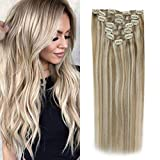 Sunny Clip in Hair Extensions Human Hair 18 inch Blonde Highlights...