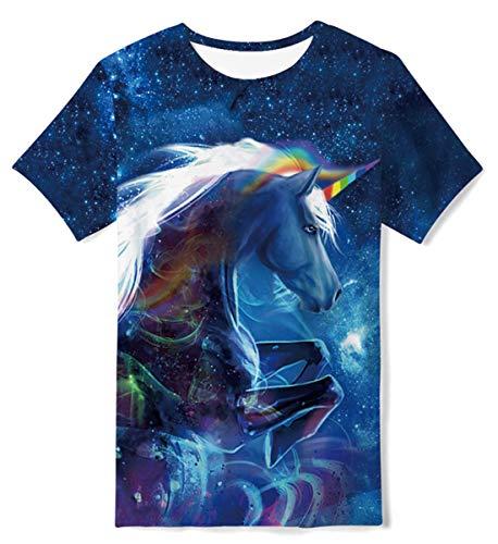 Kids4ever Galaxis T-Shirt Jungen Mädchen 3D Einhorn Bunt Gedruckt Kurzarm Tshirts mit Rundhalsausschnitt Kinder Sommer Sport Running Tees Top
