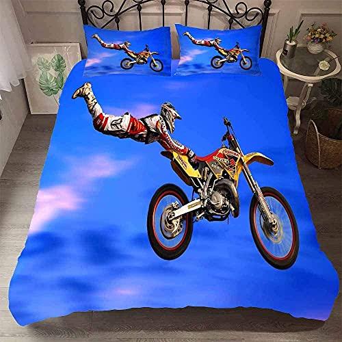 QWAS Motocross Bettwäsche. Dirt Bike Xtreme Sport Bettbezug Set, geeignet für Männer, Jugendliche, Jungen. (Bike6,135X200cm+50x75cmx2)