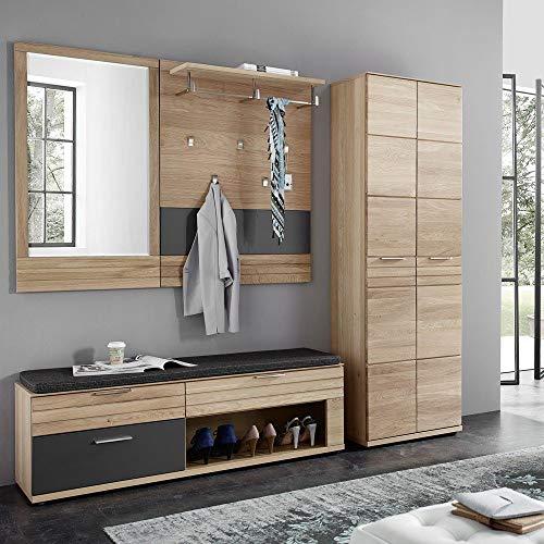 Lomadox Garderobenmöbel Set aus massiver Wildeiche geölt, mit Dielenschrank, Sitzbank, Paneel und Spiegel