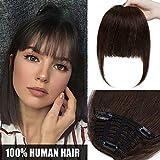 Frange a Clip Naturel - 100% Vrai Cheveux Humain Naturel Remy Extension Postiche Hair Bang Fringe - #2 CHATAIN FONCE