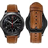 MroTech Leather Watch Band compatible with Samsung Galaxy Watch 3 45mm/Watch 46mm/Gear S3 Frontier/Classic Replacement Bands,22mm Quick Release Wristband Genuine Leather Strap Bracelet-Brown/Black