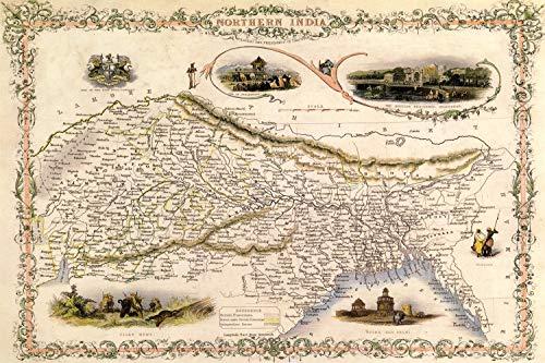 KEAPSIGN - Letrero clásico de metal con diseño de mapa del siglo XIX, diseño de mapa de la India del Norte - Cartel clásico de decoración de pared de 20 x 30 cm