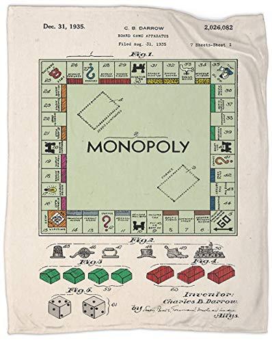 Monopoly - Manta de forro polar de doble tamaño, suave y sedosa, de franela, de lujo, cálida, suave, suave y cómoda, de 70 x 50 pulgadas