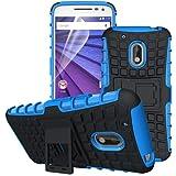betterfon | Outdoor Handy Tasche Hybrid Hülle Schutz Hülle Panzer TPU Silikon Hard Cover Bumper für Lenovo Moto G4 Plus Blau