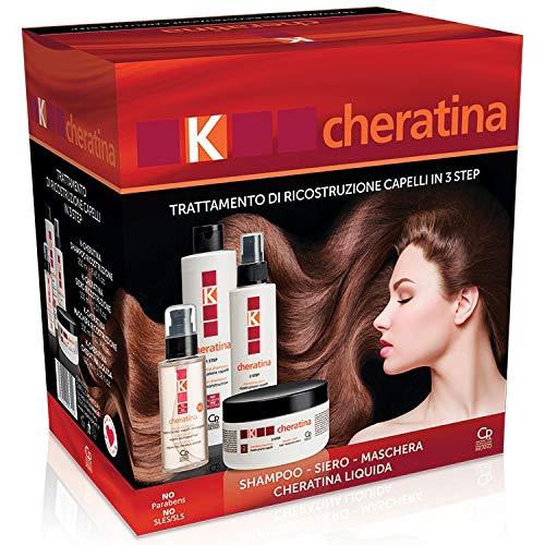 K-Cheratina - Trattamento Professionale Capelli Deboli e Sfibrati - Contiene lo Shampoo Ristrutturante, il Siero ad Azione Riempitiva, la Maschera Ric