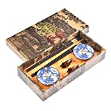 Quantum Abacus Elegant Chopstick Set Golden Luck and Blue Pagoda Made of Carved Wood, 2 Pairs of Chopsticks, 2 Chopstick Rests, 2 Ceramic Bowls, in Gift Box, Mod. I_S2-B-W-10