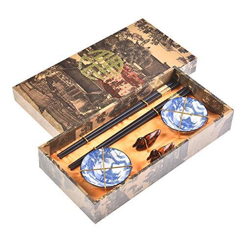 Quantum Abacus Pregiato Set di Bacchette Fortuna d'oro e Pagoda Blu 2 Bacchette cesellate in Legno, 2 poggiabacchette, 2 Ciotole in Ceramica, in Confezione Regalo, MOD. I_S2-B-W-10