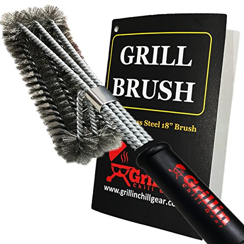 Grillin Chill Gear BBQ Grill Cleaner Brush - Stainless Steel Wire Grill Brush for Deep Grill...
