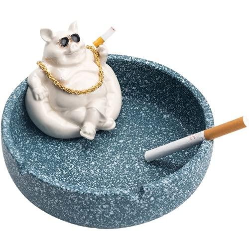 Cenicero de cerámica de cerdo de dibujos animados anti mosca ceniza coche hogar sala de estar gran capacidad cenicero de cerámica regalo para el hogar para novio