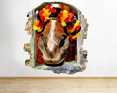 HQSM Pegatinas de pared Pegatinas de pared Caballo FlowersSmashed Decal 3D Art Vinyl Room