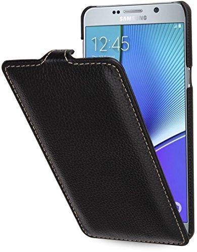 StilGut UltraSlim Hülle, Hülle aus Leder für Samsung Galaxy Note 5, schwarz