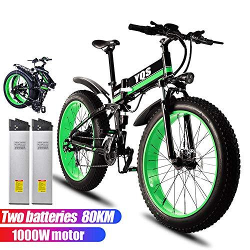 Qnlly Elektrofahrrad 1000 Watt 80 KM 4,0 Fettreifen Schnee Mountainbike Ebike Elektrofahrrad Ebike 48 V Elektrofahrrad (2 Batterien),Grün