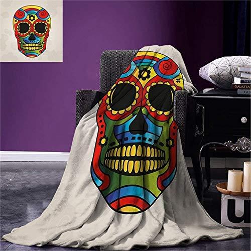 Super Suave Manta 3D Sugar Skull Decor Throw Figura De Color Vibrante Macabre México Tradición Latina Mítica Religiosa Cálida Microfibra 150x200cm