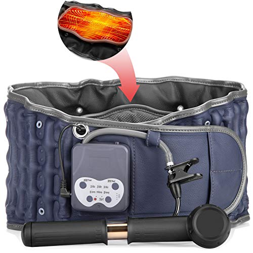 Cordless Heated Decompression Back Belt with Rechargeable Battery for Lower Back Pain Relief, Portable Lumbar Traction Device with Heating Pad, One Size Fits 29-49 Waist