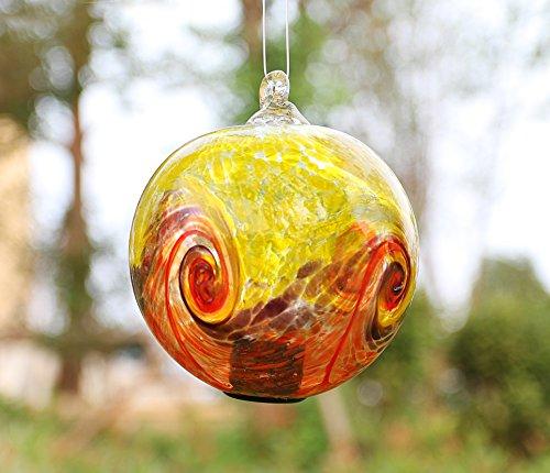 Artisan œuvres d'art et de Design 15,2 cm Solaire à Suspendre en Verre Iron Stop Boule Multicolore de Jardin Décor Jaune-Orange Swirl