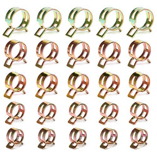 Gobesty Clips de manguera de resorte de 5-9 mm, 5 tamaño 50 piezas Juego de clips de manguera de primavera, Tubo de agua Tubo de aire Sujetador de abrazadera de manguera de vacío de silicona