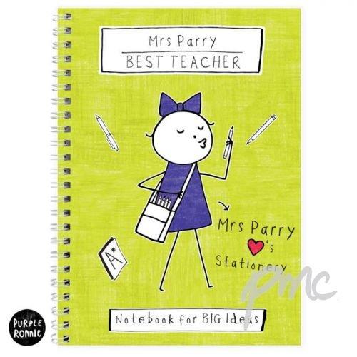 Personalizable púrpura Ronnie profesora cuaderno A5