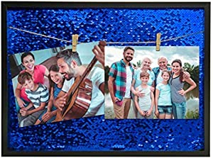 SpoiledDarlings Clip Holder Picture Frames – 16x12 Wood Clip String Sequin Frame wall mounting 4 Colors Designs, Photographs Decor | Office Room Wall Frame Hanged Photo Frame | Home decoration (blue)