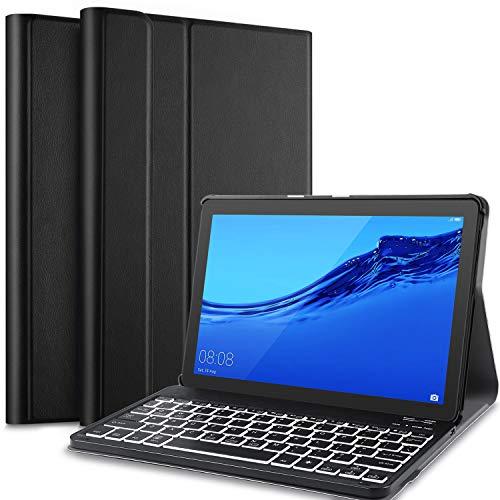 IVSO Hintergrundbeleuchtete Tastatur Hülle für Huawei MediaPad T5 10, [QWERTZ Deutsches], Ständer Schutzhülle mit magnetisch abnehmbar Tastatur für Huawei MediaPad T5 10 10.1 Zoll 2018, Oil