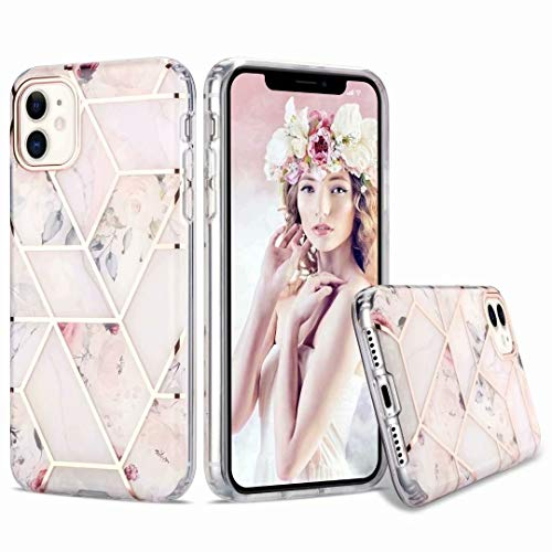 Funda para iPhone 11 Pro, suave diseño floral de mármol fino TPU absorción de golpes [protección frontal y posterior] silicona transparente transparente cubierta protectora para iPhone 11 Pro blanco