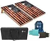 Best Cornhole Boards - Tailgating Pros Rustic American Flag Cornhole Boards w/Bean Review
