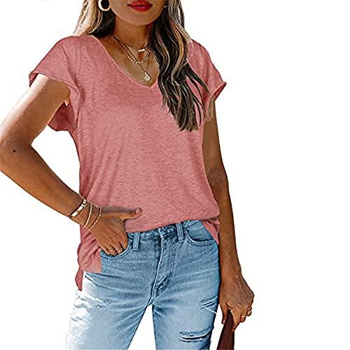 Manga Corta Mujer Tops Elegant Cómodo Verano Cuello V Color Sólido Mujer T-Shirts Moda Exquisito Tenedor Partido Diseño Diario Casual Suelto Transpirable All-Match Mujer Blusa F-Orange M
