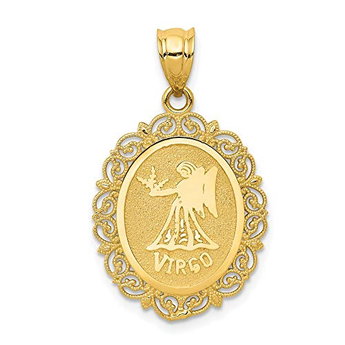 14k Yellow Gold Solid Virgo Zodiac Oval Pendant Charm Necklace Fine Jewelry For Women Gifts For Her