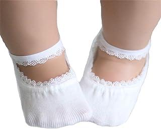 Bebé Niña Calcetines Antideslizantes con Algodón, Calcetines invisibles/Calcetines de barco/Calcetines de ballet/Vestidos
